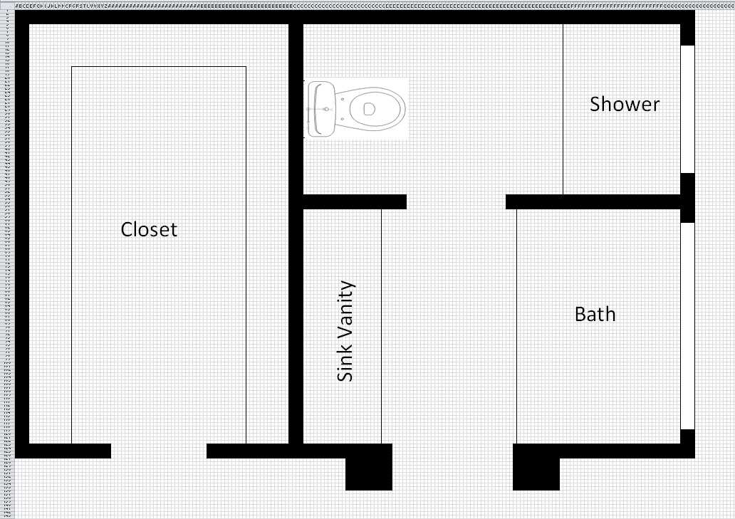 Bathroom Layout Maker using excel as a design tool | diy project blog